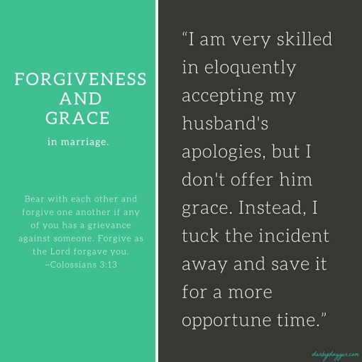 Forgiveness and grace in marriage.