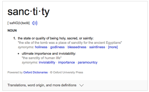 Definition of Sanctity
