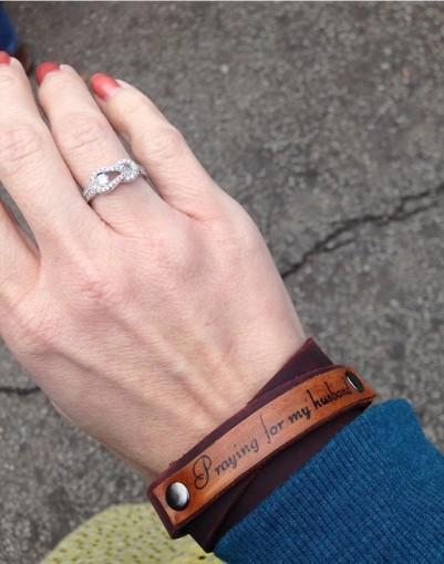 Praying for my Husband bracelet (brown on brown)