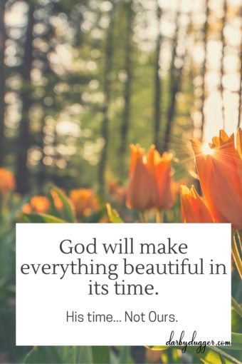 God will make everything beautiful in its time. His time... Not ours. darby dugger