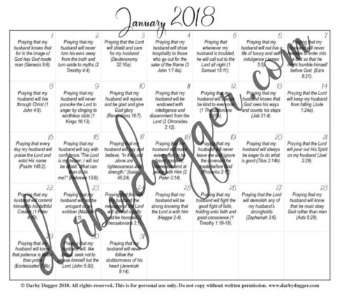 photo regarding Printable Monthly Prayer Calendar referred to as Januarys Printable Prayer Calendar Darby Dugger